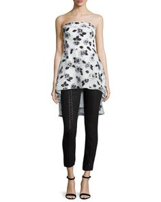 Strapless Floral-Embroidered Top & Metallic Polka-Dot Skinny Ankle Pants by Lela Rose at Neiman Marcus.