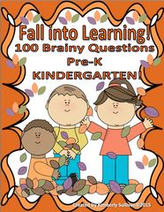 Fall into Learning Giveaway!! Enter for your chance to win 1 of 3. Pre-K + Kindergarten 100 Task Cards Phonics, Math and more!   (26 pages) from Kimberly Sullivan on TeachersNotebook.com (Ends on on 05-23-2016) 100 Brainy Task Cards! Pre K - K      Fun and engaging! .