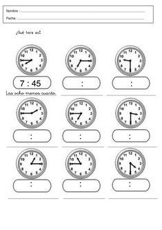 Que Hora Es Worksheet Answers Worksheet Que Hora Es Hindi Worksheets, Math Worksheets, Clock Games, Learn To Tell Time, Teachers Corner, Order Of Operations, Gifts For Office, Telling Time, Math Classroom