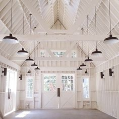 Lombardi House, Hollywood's newest wedding venue. Amazing barn/home interior in all-white with rows of barn pendants and sconces. Garage Studio, Barn Garage, Barn Living, Pole Barn Homes, White Barn, Black Barn, My New Room, My Dream Home, Dream Barn