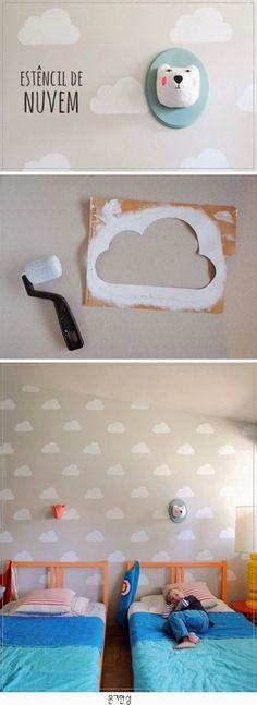 Cloud stencil on the wall