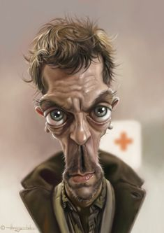 Hugh Laurie Funny Caricatures of Celebrities by Patrick Strogulski Cartoon Faces, Funny Faces, Cartoon Art, Comics Und Cartoons, Funny Cartoons, Funny Humor, Hugh Laurie, Caricature Artist, Caricature Drawing