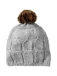 cable knit hat with fur pompom