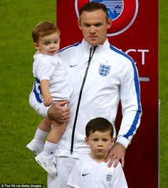 Rooney was joined by his two sons Kai and Klay on the Wembley turf ahead of England's qual...