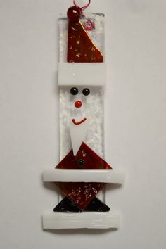 Handmade Fused Glass Santa Ornament by LynnGuthrieOriginals