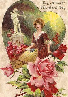 Edwardian Lady with Roses Valentine Postcard