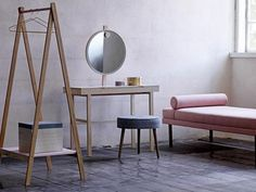 """Beauties from the FURNITURE collection; """"diva"""" daybed, """"phine"""" vanity table, """"button"""" pouf and """"lanky"""" clothes rack! Scandi Home, Scandinavian Home, Make Up Tisch, Commode Design, Design Japonais, Dressing Table Mirror, Handmade Table, Handmade Wooden, Style Deco"""