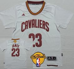 a034571dd ... Cleveland Cavaliers 23 LeBron James 2016 The NBA Finals Patch White  Short-Sleeved Jersey ...