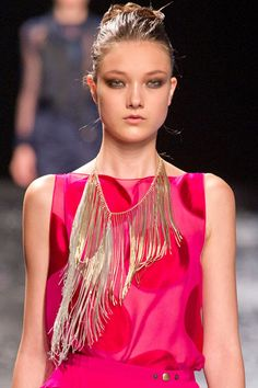 The Spring 2013 Accessories Report - Fringe Benefits - Nina Ricci Necklace style fashion runway Runway Fashion, Spring Fashion, Fashion Show, Fashion Outfits, Fashion Trends, Balenciaga, Fashion Articles, Glamour, Fashion Accessories