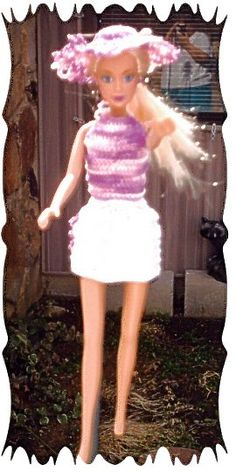 Free Barbie doll clothes patterns for cute skirt, top and sunhat.