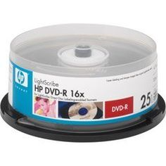 HP DVD-R 16X LIGHTSCRIB E25PK CAKE BOX by HP. $9.45. 4.7GB/120 minutes storage capacityBurn text and graphics directly onto label side of specially-coated discsCompatible with LightScribe  enabled DVD drives