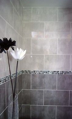 Aspendos Light Grey Wall Tile (400x250mm) - how about grey glass subway tile above?