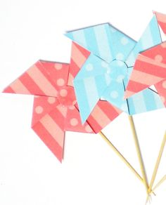 12 Recycled Pinwheel You Pick the Color Bamboo by rosepetalpaper, $6.00