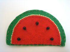 Watermelon  Hand Embroiered Felt Applique Brooch