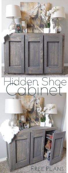 DIY Furniture - Hidden Shoe Cabinet - hidden storage woodworking plans