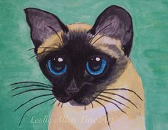 Siamese Cat Painting Siamese  Cat Print Cats by EnjoyTheView, $5.00