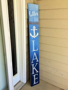 welcome sign for front door, housewarming gift, tall welcome sign, lake cabin porch decor Lake House Signs, Lake Signs, Cottage Signs, Beach Signs, Awesome Woodworking Ideas, Woodworking Plans, Woodworking Projects, Wood Projects, Woodworking Workshop
