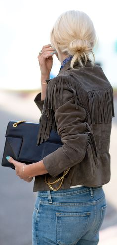 Reformation Brown Easy Rider's Inspired Suede Fringed Jacket