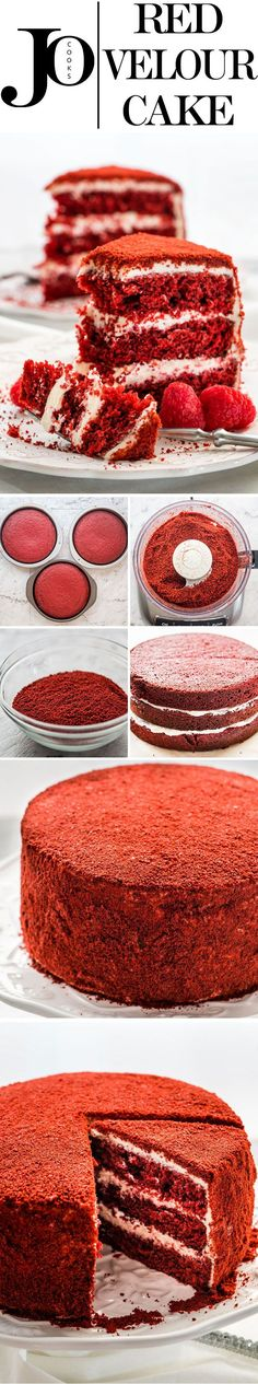 This Red Velour Cake takes your classic popular Red Velvet Cake and brings it to the next level of elegance and deliciousness. Still moist, still has the soft velvet texture we're all familiar with and love, but has a velour exterior that's beautiful and sophisticated.
