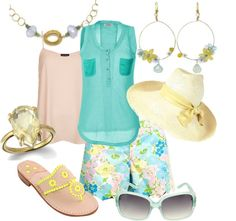 """sunny day for people watching"" by anfernee-131 ❤ liked on Polyvore"