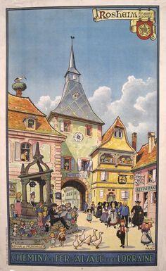 """Jean-Jacques Waltz Hansi (1873-1951). """"Rosheim. Chemins de Fer d'Alsace et de Lorraine."""" France, ca. 1920."""