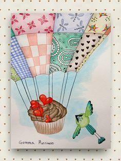 Cupcake ligerito II. Momoto & globo patchwork. Acuarela original y única, de la colección Dulces Ilustraciones, de Gemma Merinero. [Exposición y venta en Mama Muffins Shop]