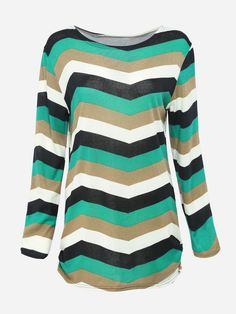 Round Neck Dacron Striped Long-sleeve-t-shirt Only $10.95 USD More info...