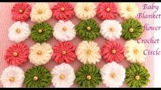 Cobijita para bebe a crochet en punto margaritas pompón tejido tallermanualperu - YouTube
