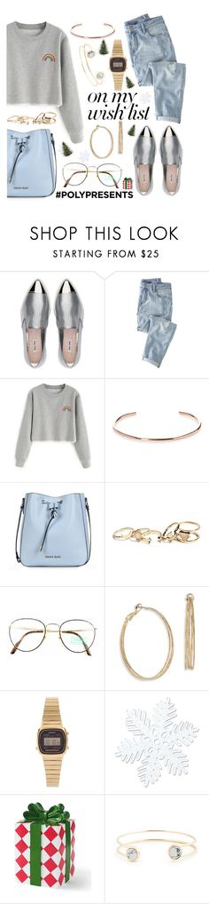 """#PolyPresents: Wish List"" by may-calista ❤ liked on Polyvore featuring Miu Miu, Wrap, A.V. Max, Armani Jeans, GUESS, Benetton, ABS by Allen Schwartz, Casio, National Tree Company and Grandin Road"