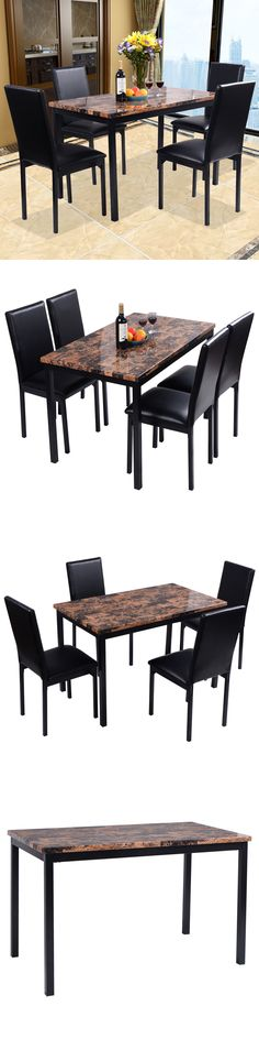 Furniture: 5 Piece Dining Set Faux Marble Table And 4 Chairs Kitchen  Breakfast Furniture