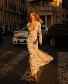 "Stunning Embroidered Lace Mermaid Wedding Dress / Bridal Gown with Deep V-Neck Cut, Long Sleeves, Embroidered Back and a Train. Collection ""No. by Privée by Berta Berta Bridal, Bridal Gowns, Wedding Gowns, Civil Wedding, Beautiful Bridal Dresses, Amazing Wedding Dress, Wedding Dress Boutiques, Wedding Dress Shopping, Lace Mermaid Wedding Dress"