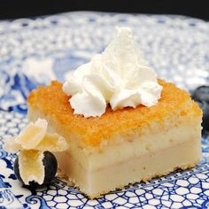 this recipe caught my eye a while back because i do love my custards and the fact that they can be served square rather than pie shape or. Gourmet Desserts, Asian Desserts, Just Desserts, Delicious Desserts, Dessert Recipes, Chinese Desserts, Sushi Recipes, Milk Recipes, Plated Desserts