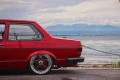 "urotuning: ""#wheelwednesday LOVE this! #vw #volkswagen #vag #jetta #jettamk1 #mk1 #coupe #LowBudget #LowFamilia #low #stance #bagged #airride #bbsrf #rf #rfgang #17"" #wheels #soga #gardersee #2k16 @patrick_mk1 """