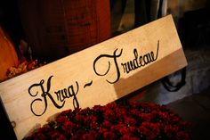 handmade wooden sign with the newlyweds last names add a personal touch - thereddirtbride.com - see more of this wedding here Initial Decor, One Day I Will, Handmade Wooden, Newlyweds, Wooden Signs, Got Married, Fall Wedding, Names, Touch