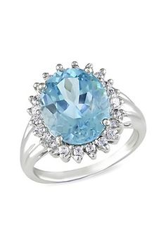 Sterling Silver Oval Sky Blue Topaz & White Topaz Halo Ring