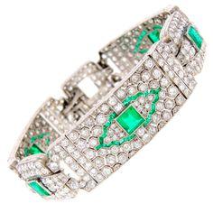 Art Deco Emerald, Diamond & Platinum Bracelet. Circa 1930's.