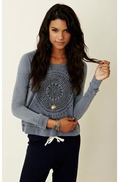 Sundry Compas Cropped Pullover