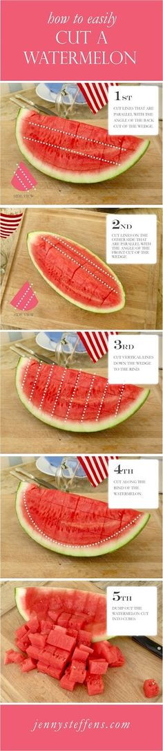 How to easily cut a watermelon without a mess ! Share this if you think its a great Tip!