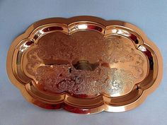 "Vintage Copper Metal Engraved Filigree Tray w Scalloped Edge 9 3/4"" X 6"""