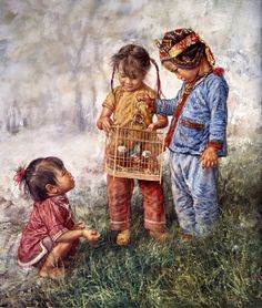 Asian Oriental Chinese Art Artwork from Artist Wai Ming titled: Children And Their Pet Illustration Photo, Asian Kids, Art Pictures, Photos, China Art, Chinese Painting, Beautiful Paintings, Art Reproductions, Japanese Art