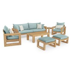 Benson Sofa & Club Chair Set in Bliss Blue by RST Brands(Acacia), Outdoor Seating Best Outdoor Furniture, Patio Furniture Sets, Furniture Layout, Antique Furniture, Furniture Buyers, Furniture Cleaning, Furniture Stores, Cheap Furniture, Furniture Design