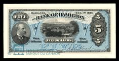 Canada, Bank of Hamilton, 5 dollars : December 1887 Ontario City, Canadian Coins, Old Money, Ephemera, Hamilton, Police, Stamps, December, Barbie