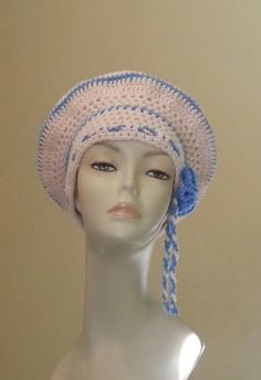 Crocheted Beret Hat Boho Beret Hat Slouch Hat Pink &
