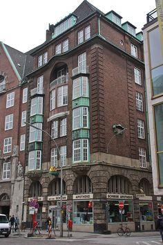 Dammtorstraße, Hamburg - Haus Goldener Schwan mit Schwan Apotheke