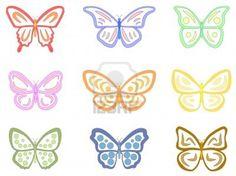 Dibujos de mariposas que nos sirven para pintarlas cuando las hacemos de fondant.