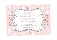 Pink Damask Baby Shower Invitation Printable Baby by JCpartyprint