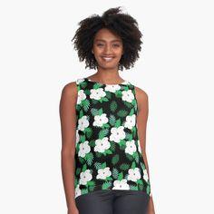 Womens Sleeveless Tops, Tropical Pattern, Tank Man, Chiffon, Tank Tops, Green, Fabric, Black, Printed