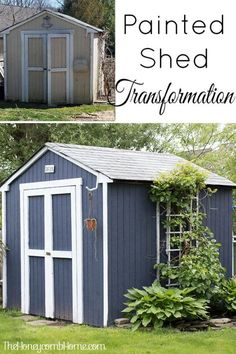 Zen Garden What a difference a gallon of paint can make! Love the shade of blue on this painted shed! Outdoor Sheds, Outdoor Spaces, Outdoor Living, Outdoor Decor, Outdoor Stuff, Diy Design, Modern Design, Blue Shed, Shed Decor