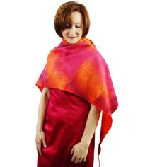 Felted Shawl Red Orange Shawl Pink Shawl Red Scarf Felted Red Wool... ($150) ❤ liked on Polyvore featuring accessories, scarves, red shawl, pink scarves, shawl scarves, pink shawl and wool scarves