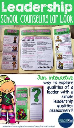 Leadership qualities lap book for elementary school counseling! -Counselor Keri